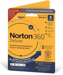 Norton 360 Deluxe 50GB allt-i-ett skydd för 5 enheter